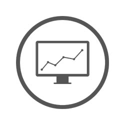 computer monitor with increasing graph